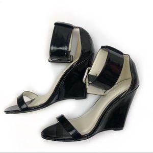 Liliana Womens Black Wedge Heel Size 6.5
